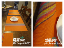 Orange Rainbow Hemp coarse stria cotton handmade crochet lace garden coffee table cover cloth tablecloths 30*45cm