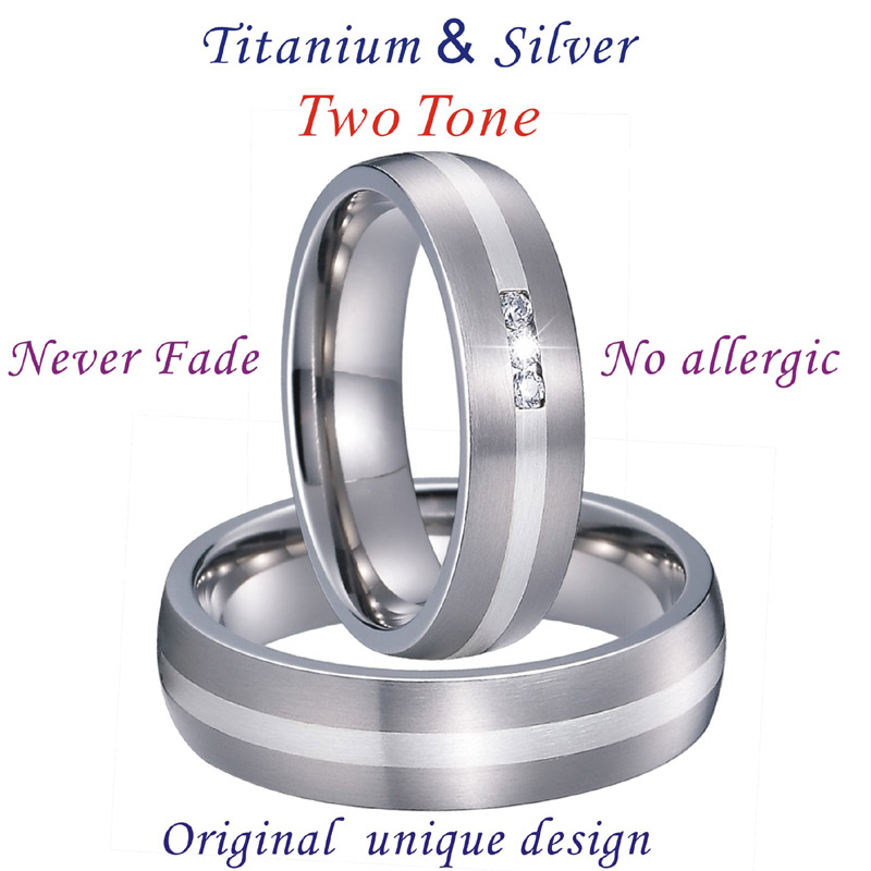 Unique Alliance Silver Inlay Titanium Rings for men and women Wedding Band Matching Couple Rings Bague anillos de plata anel PV1701 (7)
