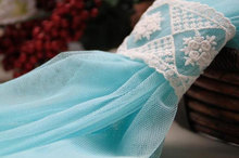 Blue Grenadine Lace Fabrics Gauze Mesh Fabric Wedding Gown Fabrics Supplies Costume Supplies(China)