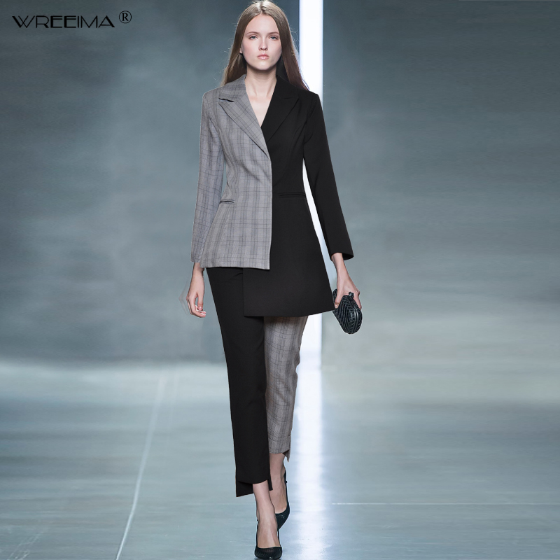 Women's Catwalk Women 2 Piece suit set Business Long-sleeved Patchwork Asymmetric Blazer and Pant Office Lady suits 2019 spring