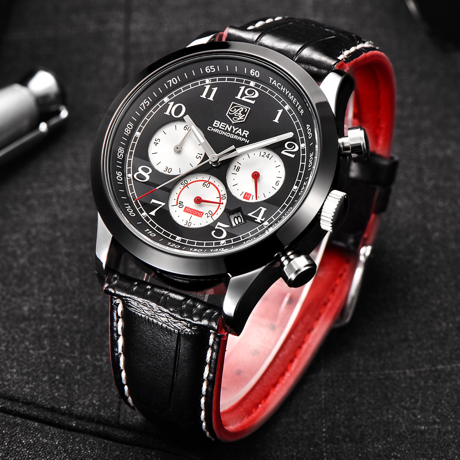 New Arrivals BENYAR Fashion Chronograph Sport Mens Watches Top Brand Luxury Quartz Watch All Small Dials Are Working<br>