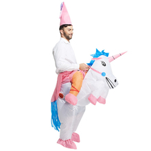 HOT Adult Halloween Costumes Inflatable Unicorn Costumes Ride on Sky Horse Air Blowing Up Clothes Funny Costumes(China)