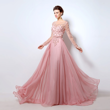 2016 Illusion Formal Long Evening Dresses Sheer Full Sleeves Fashion Beading Crystal Women Prom Gowns vestidos de noche LX051