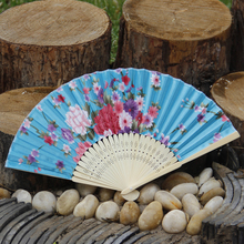 21cm Japanese Style Fabric Single Side Printed Hand Held Folding Fan Natural Bamboo Hand Fan Satin Fabric Fan Free Shipping