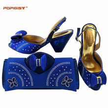 Elegant royal blue PU Leather Italian Shoes With Matching Bags Rhinestones High Quality African Shoes And Bags Set for Wedding