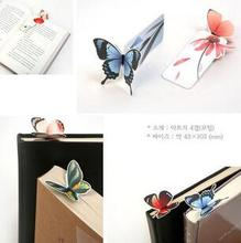 14Pcs Cute Bookmark Butterfly Style Teacher's Gift Book Marker Stationery Gift Realistic Cute Kawaii Cartoon 3d Bookmark(China)