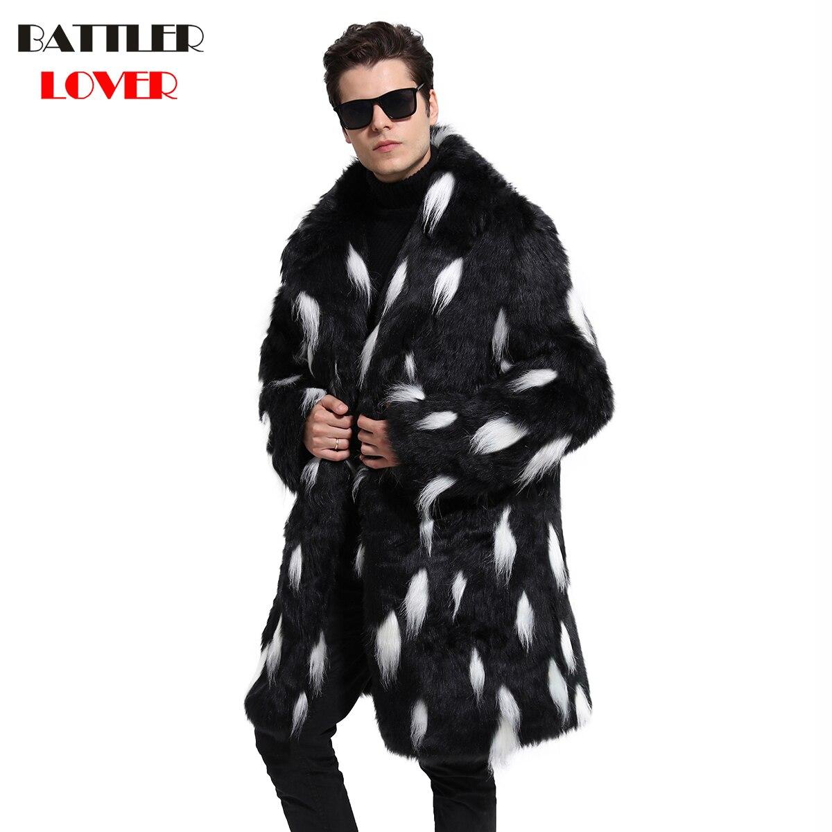 2018 Mens Fur Coat Winter Warm Outwear Coats Faux Fur Men Punk Parkas Jackets Hombre Leather Overcoat Genuine Fur Brand Clothing