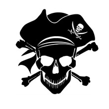 10.4*10.7CM Pirate Jolly Roger Piracy Crossbones Skull Vinyl Car Sticker Decals Can be pasted to any flat surface xin-553(China)