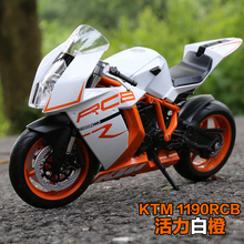 Brand New 1/10 Scale Motorbike Toys KTM 1190 RC8 Diecast Metal Motorcycle Model Toy For Gift/Kids/Collection/Decoration