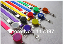 Free shipping   multi color Neck Strap tag lanyard+Badge reel ID Card Cell Phone key Round Clip-On Retractable ID Pass Holder