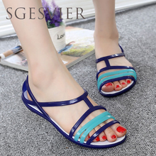 SGESVIER Women Sandals 2017 Summer New EVA Candy Color Peep Toe Beach Valentine Rainbow Croc Jelly Shoes Woman Wedges sandals G2