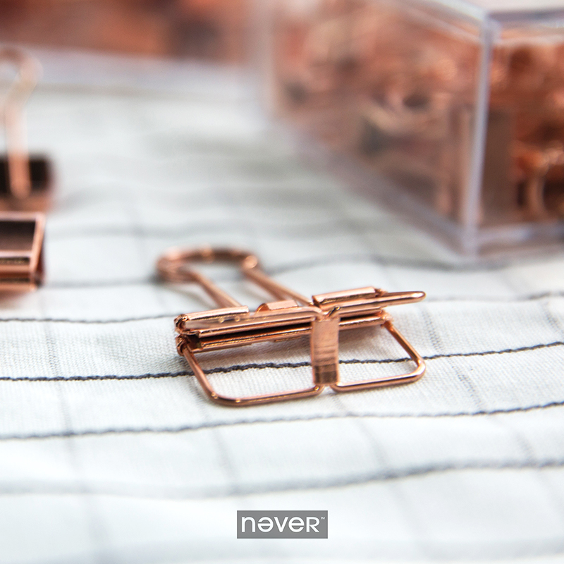Never Rose Gold Paper Clip Office Accessories Metal Clips Binder Klips Pink Clip Korean Stationery Business Gift School Supplies(China (Mainland))