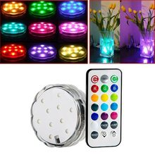 2017 Hot 10-LED Multi Color Waterproof RGB Submersible LED Light With Romote Control Perfect for lighting up Vases Bottle