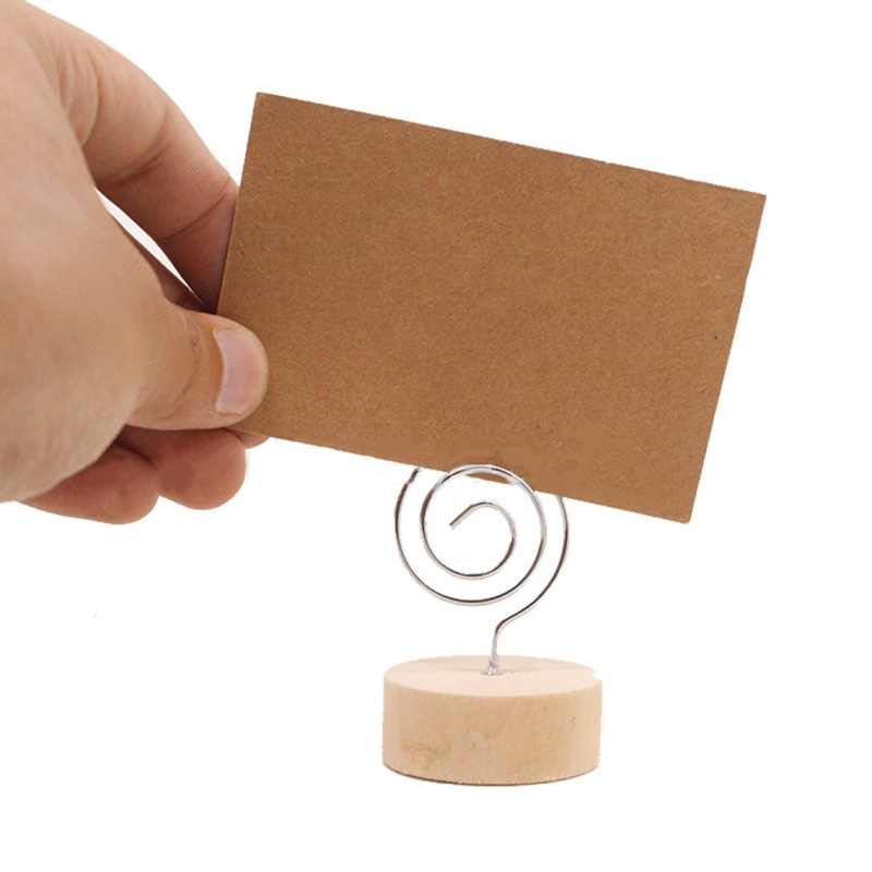 10PCS Wood Place Card Holder Stand With Swirl Wire Clip Clasp For Displaying Memo  Photo  Picture  Table Number Cards  Name Sign