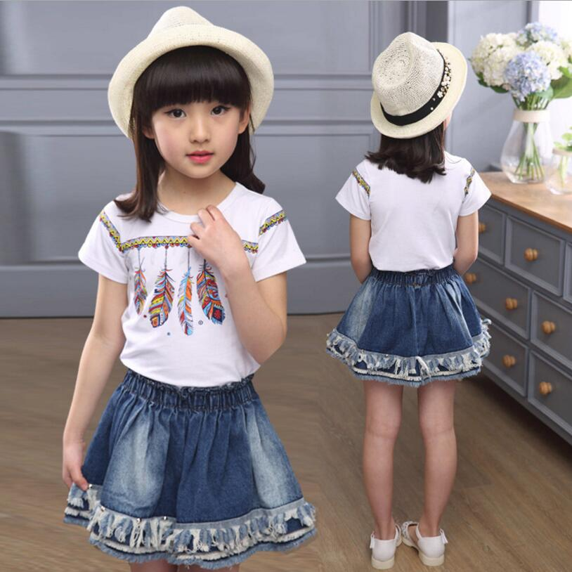 kids girls clothes 2016 new girls skirt sets 2pcs short sleeve print t shirt+elastic waist pleated denim mini skirt girl suits<br>