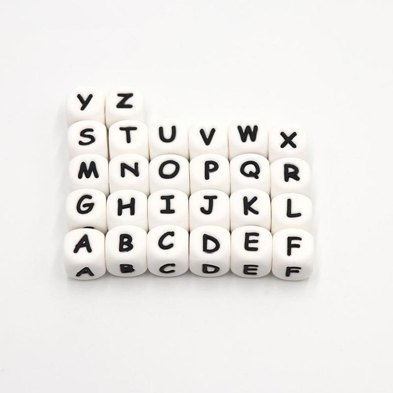 YanYuC 1pc 12mm Silicone Teething Alphabet Letter Beads Silicone Bead For Personalized Name Decklace DIY Silicone Letter