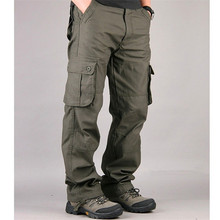 High Quality Men's Cargo Pants Casual Overall Baggy Regular Cotton Trousers Male Combat Multi Pockets Military Tactical Pants