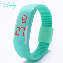 Shsby Brand LED silicone watch Fashion TPU Children sports watch Simple colorful bracelet watch Couples electronic watches gift(China)