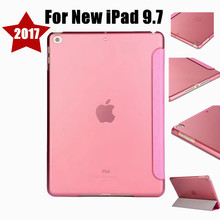 "NEWCOOL Slim Silk Grain Flip cover For Apple new Ipad 9.7"" 2017 Tablet case Protective Shell Smart Cover Clear Back +film"