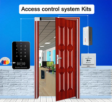 RFID Access Control System Kits Wooden Glasses Door Set+Eletric Magnetic Lock+ID Card Keytab+Power Supplier+Exit Button+DoorBell(China)