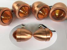 Motorcycle 4x Custom Copper Anodized Billet Aluminum Bullet Shape Panhead Turn Signal Light Mounting For Harley
