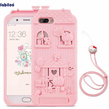 For OPPO R11 3D Cute Cartoon Fabitoo Hello Kitty Phone Case Soft Silicone Back Cover With Lanyard