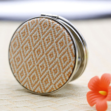 Women Fashion Cloth Weaving Mini Mirror Makeup Portable Pocket Cosmetic Mirrors with Double Face Wholesale Gift