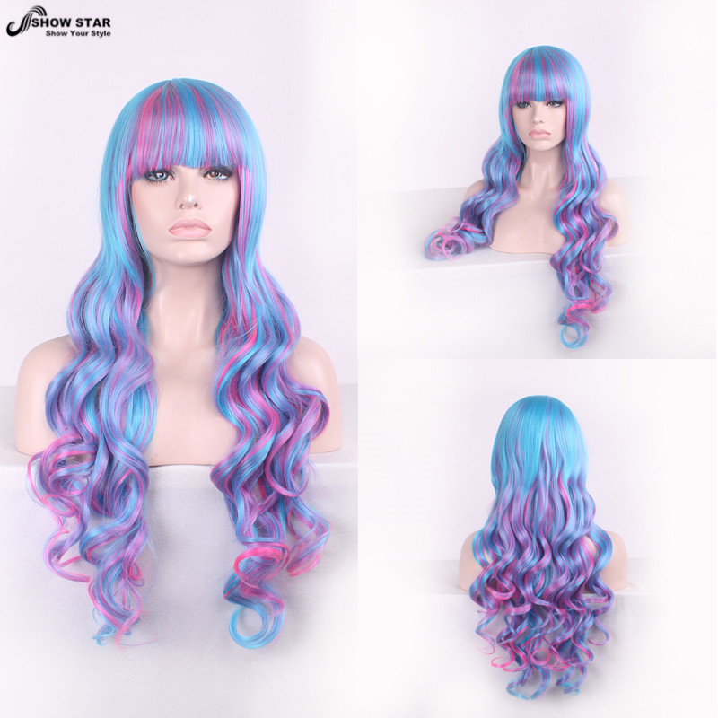 80CM Long Curly Wavy Harajuku Cosplay Wig Anime Blue Pink Synthetic Wig For Women Party Wigs Heat Resistent Peruca Pelucas<br><br>Aliexpress