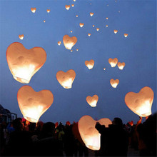 10pcs/lot Popular heart Sky lantern Paper Chinese wishing lantern for Thanksgiving Day supply birthday Party decoration(China)