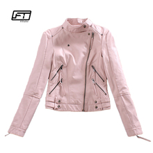 Buy Autumn Womtne Faux Leather Jacket Short Design Soft Pu Slim Pink Jacket Punk Fashion Womens Biker Jacket Motorcycle Clothing for $25.99 in AliExpress store