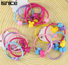 isnice 100 pcs High Quality Carton Round Ball Kids Elastic Hair bands Elastic Hair Tie Children Rubber Hair Band