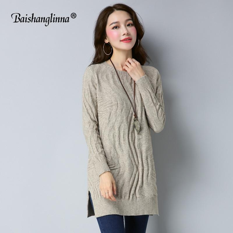 Baishanglinna 2017 Autumn Winter dress women dress wool knitted clothes cashmere sweater plus size O-neck dress casual outwearÎäåæäà è àêñåññóàðû<br><br>