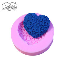 Christmas Decoration Loving Heart Lace Shaped Cake Mold DIY Cake Decorating Biscuits Fondant Sugar Art Tools 3D Silicone Mold