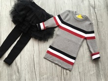 3-8 years 2017 Kids childrens casual gray stripe girls Knit long Sweater(China)