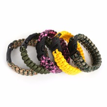 Hot Selling Camping Hiking Emergency ParaCord Bracelet For Men Women Survival Parachute Rope Whistle Buckle Kit Wristbands