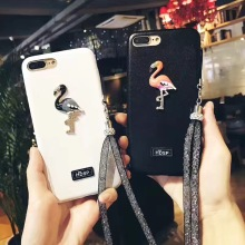fashion Flaming diamond Rhinestones bling strap cover for apple  iphone 6 6s plus iPhone7 7P leather mobile phone Case capa