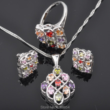 Unusual Multicolor Cubic Zircon Silver Jewelry Sets For Women Earrings/Pendant/Necklace/Rings Free Shipping  JS0140