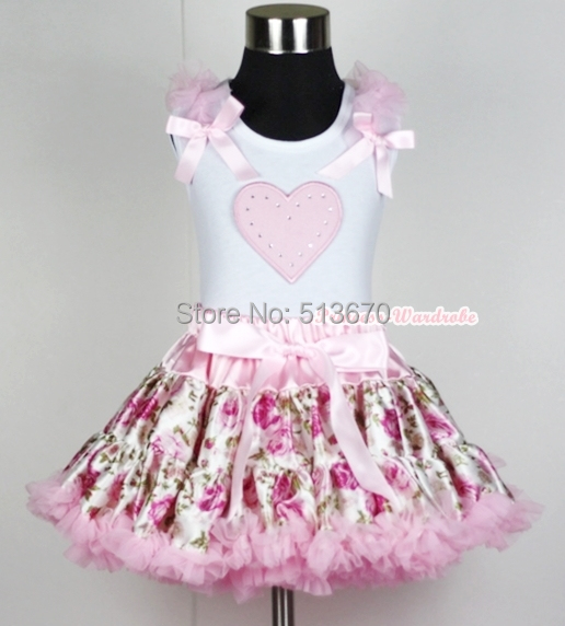 Light Pink Floral Rose Pettiskirt Dress Valentine Heart Ruffle Bow White Top 1-8Y MAPSA0232<br>
