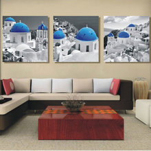 3 Panel Mediterranean Painting The Aegean Sea Home Decoration Canvas Painting Picture On Wall For Living Room Wall(No Frame)