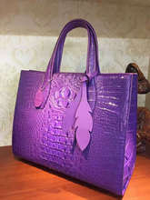 luxury quality solid crocodile head and back skin women tote handbag, big size women tote shopping bag in crocodile skin purple