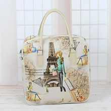 New Travel Bag Women Female Hand PU Leather Suitcases Luggage Bag Cartoon Cute Short Trip Bag Light Travel Bag(China)