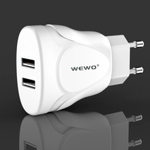 WEWO 5V 2.1A Cell Phone Charger With Dual 2 USB Port Fireproof Cover Intelligent Smart Protection For iPhone iPad Samsung