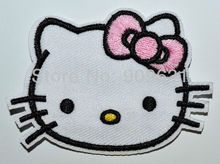 Hot ! Free shipping ! Hello Kitty Lovely Cat Pink iron on applique or Sew on fashion embroidery applique patches cartoon garment