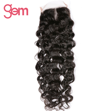 Brazilian Middle Part 4x4 Water Wave Lace Closure GEM Beauty Swiss Lace Closure Hand Tied 130% Density 100% Remy Human Hair