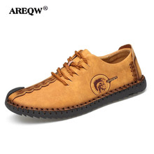 AREQW New Leather Men Shoes Summer Shoes Mens Flats High Quality Handmade Mens Leather Shoes(China)