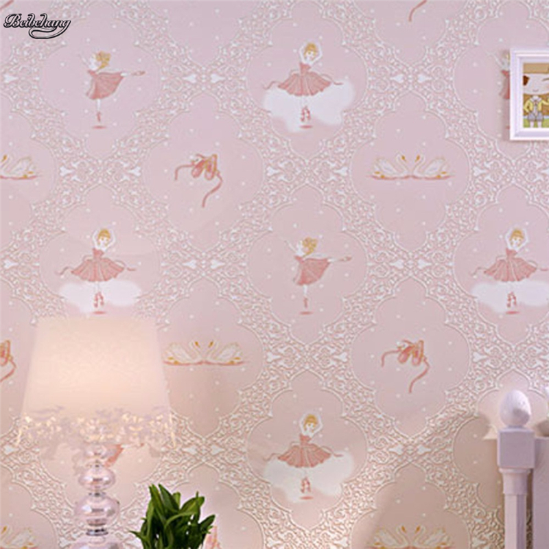 beibehang friendly pink cartoon cute princess children s bedroom background wall non - woven self - adhesive wallpaper<br>