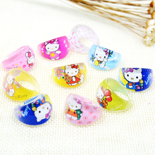 FANRAR Jewelry Mixed Lots 10Pcs Hello Kitty Rings KT Cartoon Ring For Lovely Children Kids Boys Girls Birthday Party Gift(China)