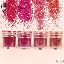 1 Jar/Box 10ml Nail Fashion 4 Red Rose Colors Nail Glitter Fine Powder For Nail Art Decoration Optional 300 Colors Factory 4-13