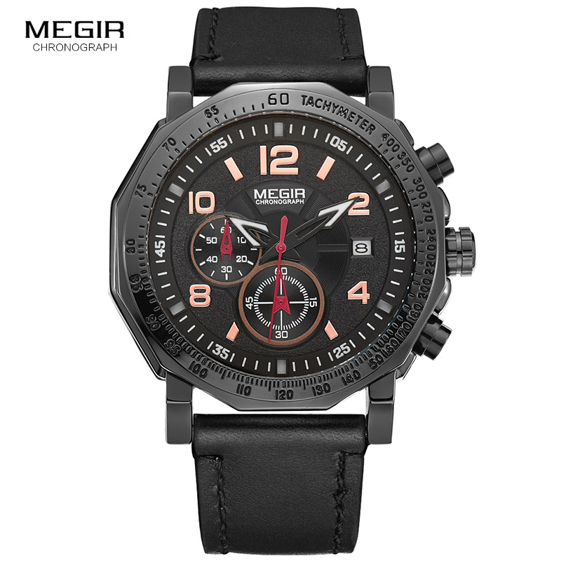 Megir Man Watch Chronograph Luminous Army Sport Quartz Wrist Watches Fashion Military Leather Date Indicator for Men 2048G 2017<br>