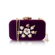 Pearl Beaded Velour Evening Clutch Bags Women Pearl Flower Velvet Handbags Chain Shoulder Bag For Bridal/bridesmaid Bag Purse(China)